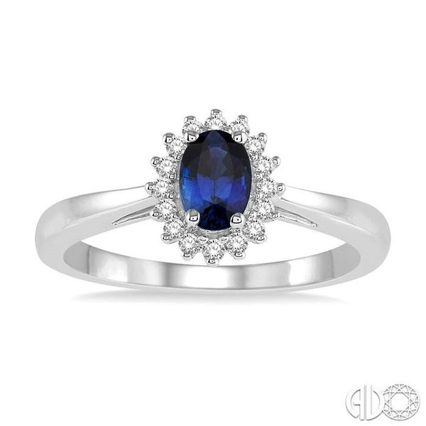 6X4MM Oval Cut Sapphire Center and 1/8 Ctw Round Cut Diamond Halo Precious Stone Ring in 10K White Gold Image 2 Becker's Jewelers Burlington, IA