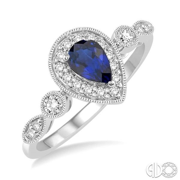 6X4MM Pear shape Sapphire Center and 1/4 Ctw Round Cut Diamond Ring in 14K White Gold Becker's Jewelers Burlington, IA