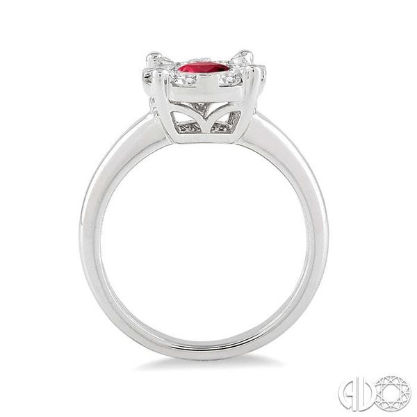 3.8 MM Round Cut Ruby and 1/3 Ctw Lovebright Diamond Ring in 14K White Gold Image 3 Becker's Jewelers Burlington, IA