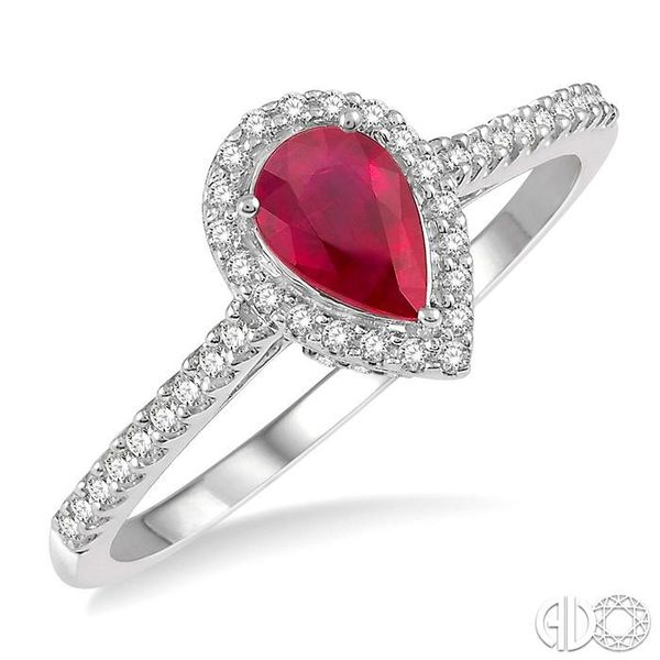 1/5 Ctw Pear Shape 6x4mm Ruby & Round Cut Diamond Precious Ring in 10K White Gold Becker's Jewelers Burlington, IA