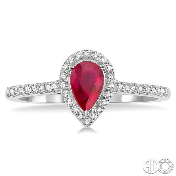 1/5 Ctw Pear Shape 6x4mm Ruby & Round Cut Diamond Precious Ring in 10K White Gold Image 2 Becker's Jewelers Burlington, IA