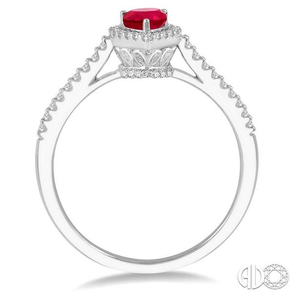 1/5 Ctw Pear Shape 6x4mm Ruby & Round Cut Diamond Precious Ring in 10K White Gold Image 3 Becker's Jewelers Burlington, IA