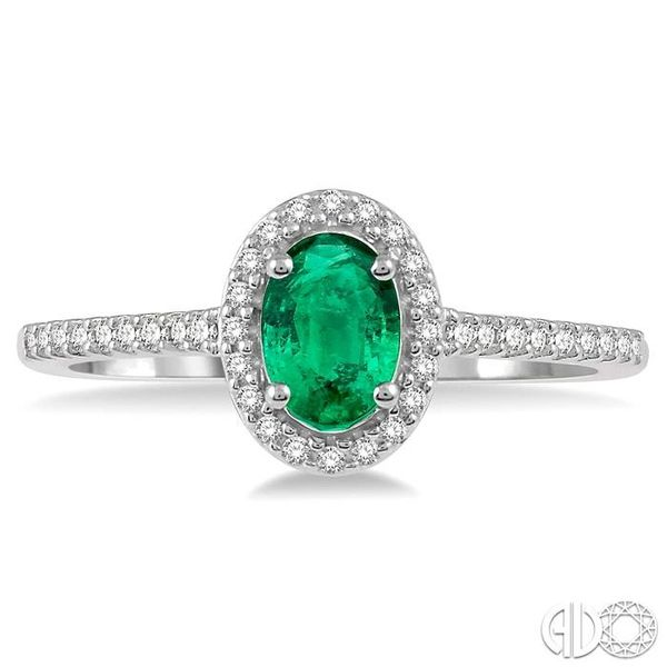 1/5 Ctw Oval Shape 6x4mm Emerald & Round Cut Diamond Precious Ring in 10K White Gold Image 2 Becker's Jewelers Burlington, IA