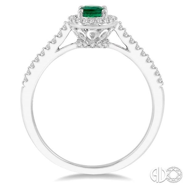 1/5 Ctw Oval Shape 6x4mm Emerald & Round Cut Diamond Precious Ring in 10K White Gold Image 3 Becker's Jewelers Burlington, IA