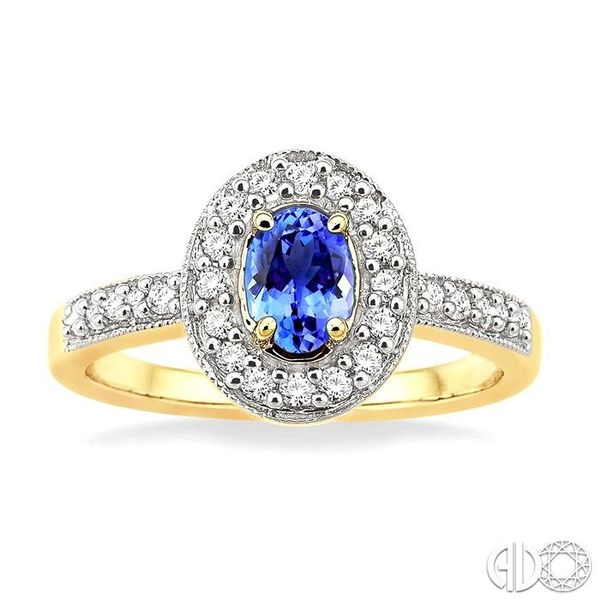 6x4mm Oval Cut Tanzanite and 1/4 Ctw Round Cut Diamond Ring in 14K Yellow Gold Image 2 Becker's Jewelers Burlington, IA