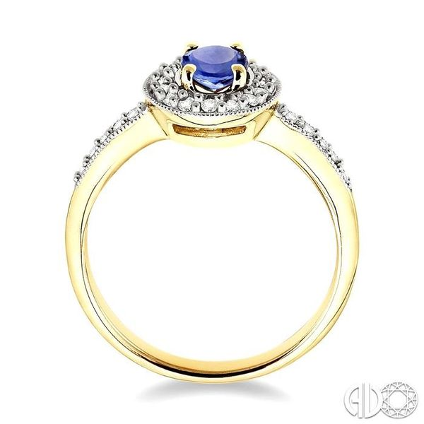 6x4mm Oval Cut Tanzanite and 1/4 Ctw Round Cut Diamond Ring in 14K Yellow Gold Image 3 Becker's Jewelers Burlington, IA
