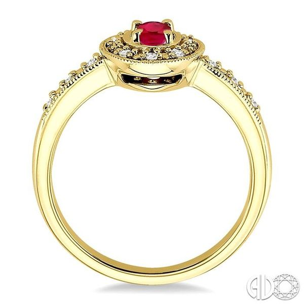 5x3mm oval cut Ruby and 1/10 Ctw Single Cut Diamond Ring in 14K Yellow Gold. Image 3 Becker's Jewelers Burlington, IA