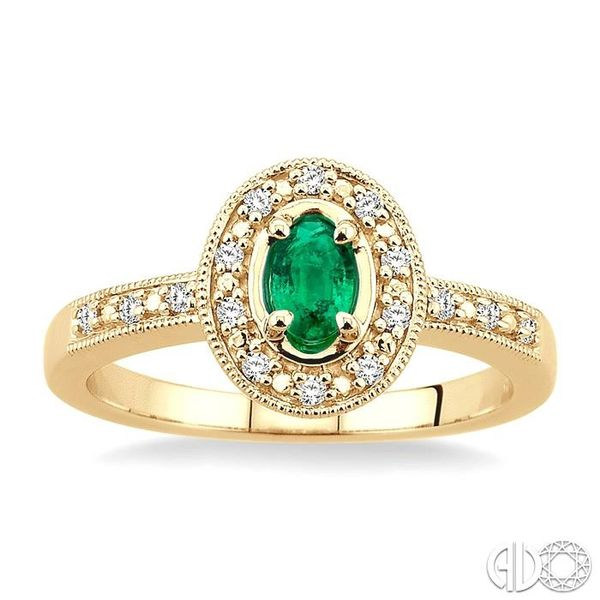 5x3mm Oval Shape Emerald and 1/10 Ctw Single Cut Diamond Ring in 10K Yellow Gold. Image 2 Becker's Jewelers Burlington, IA