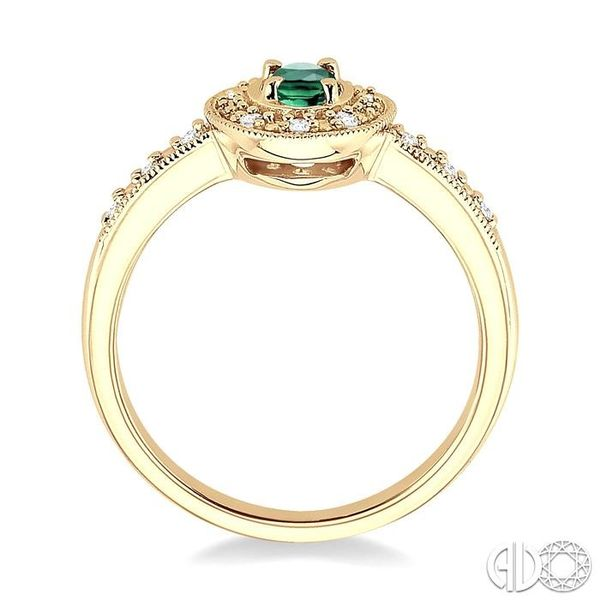 5x3mm Oval Shape Emerald and 1/10 Ctw Single Cut Diamond Ring in 10K Yellow Gold. Image 3 Becker's Jewelers Burlington, IA