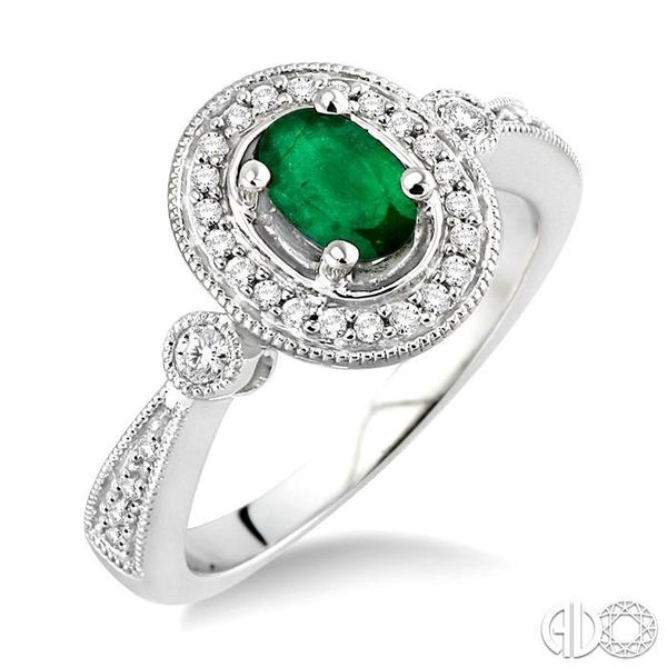 6x4mm Oval Cut Emerald and 1/5 Ctw Round Cut Diamond Ring in 14K White Gold Becker's Jewelers Burlington, IA