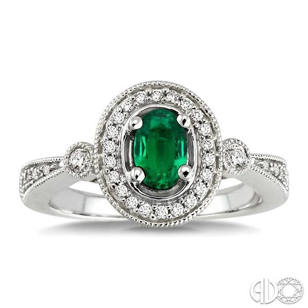 6x4mm Oval Cut Emerald and 1/5 Ctw Round Cut Diamond Ring in 14K White Gold Image 2 Becker's Jewelers Burlington, IA