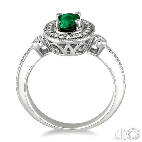 6x4mm Oval Cut Emerald and 1/5 Ctw Round Cut Diamond Ring in 14K White Gold Image 3 Becker's Jewelers Burlington, IA