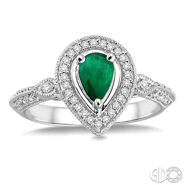 6x4mm Pear Shape Emerald and 1/6 Ctw Round Cut Diamond Ring in 14K White Gold Image 2 Becker's Jewelers Burlington, IA