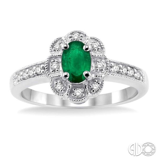 6x4mm Oval Cut Emerald and 1/6 Ctw Single Cut Diamond Ring in 10K White Gold Image 2 Becker's Jewelers Burlington, IA