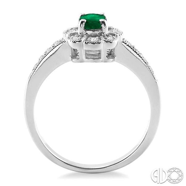 6x4mm Oval Cut Emerald and 1/6 Ctw Single Cut Diamond Ring in 10K White Gold Image 3 Becker's Jewelers Burlington, IA