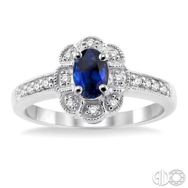 6x4mm Oval Cut Sapphire and 1/6 Ctw Single Cut Diamond Ring in 10K White Gold Image 2 Becker's Jewelers Burlington, IA