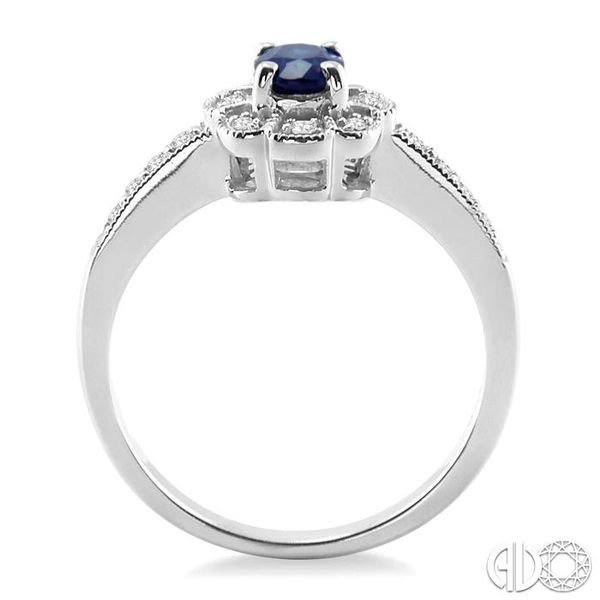 6x4mm Oval Cut Sapphire and 1/6 Ctw Single Cut Diamond Ring in 10K White Gold Image 3 Becker's Jewelers Burlington, IA