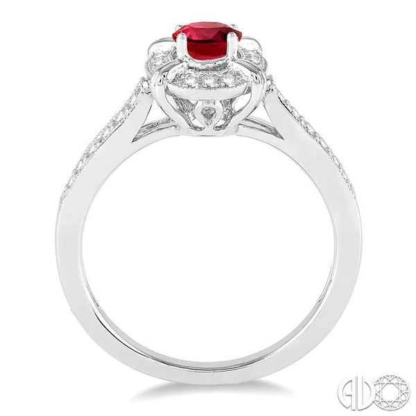 6x4 MM Oval Shape Ruby and 1/6 Ctw Single Cut Diamond Ring in 10K White Gold Image 3 Becker's Jewelers Burlington, IA