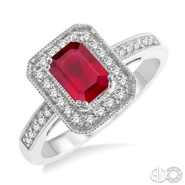 6x4 MM Octagon Cut Ruby and 1/4 Ctw Round Cut Diamond Ring in 14K White Gold Becker's Jewelers Burlington, IA