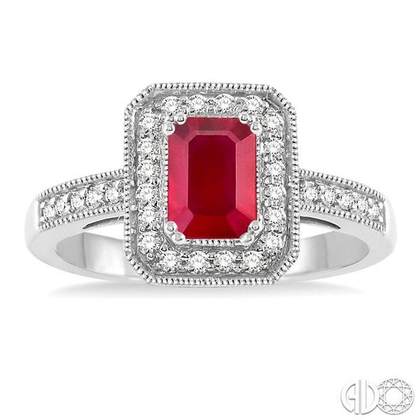 6x4 MM Octagon Cut Ruby and 1/4 Ctw Round Cut Diamond Ring in 14K White Gold Image 2 Becker's Jewelers Burlington, IA
