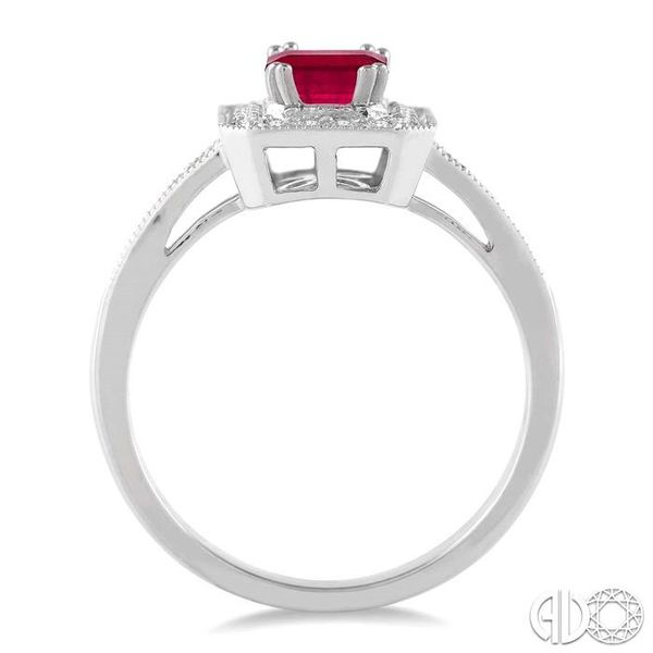 6x4 MM Octagon Cut Ruby and 1/4 Ctw Round Cut Diamond Ring in 14K White Gold Image 3 Becker's Jewelers Burlington, IA