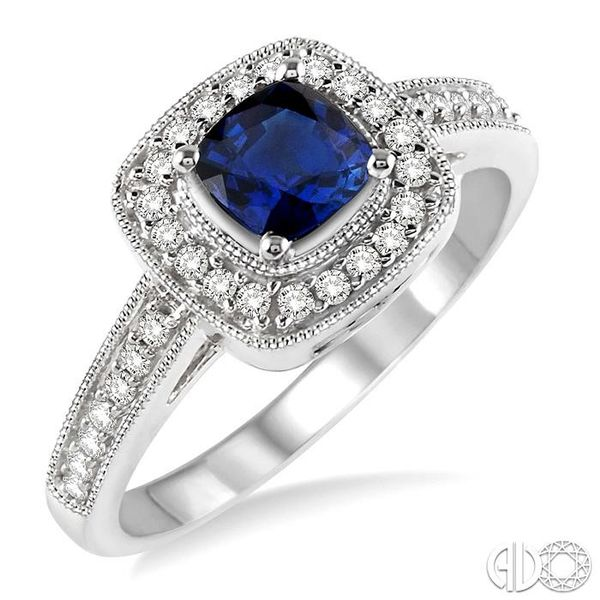 5x5 MM Cushion Cut Sapphire and 1/4 Ctw Round Cut Diamond Ring in 14K White Gold Becker's Jewelers Burlington, IA