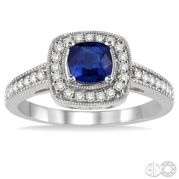 5x5 MM Cushion Cut Sapphire and 1/4 Ctw Round Cut Diamond Ring in 14K White Gold Image 2 Becker's Jewelers Burlington, IA