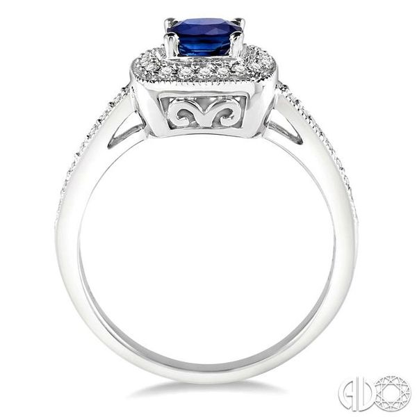 5x5 MM Cushion Cut Sapphire and 1/4 Ctw Round Cut Diamond Ring in 14K White Gold Image 3 Becker's Jewelers Burlington, IA