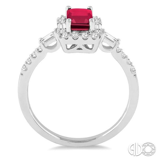 6x4 MM Octagon Cut Ruby and 1/2 Ctw Round Cut Diamond Ring in 14K White Gold Image 3 Becker's Jewelers Burlington, IA