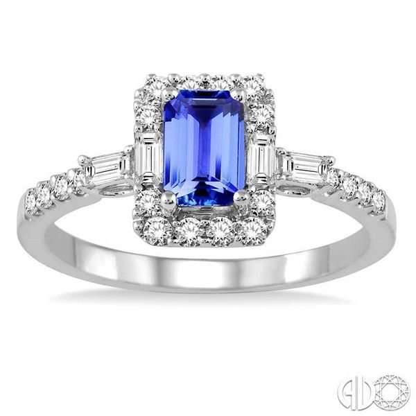 6x4 MM Octagon Cut Tanzanite and 1/2 Ctw Round Cut Diamond Ring in 14K White Gold Image 2 Becker's Jewelers Burlington, IA
