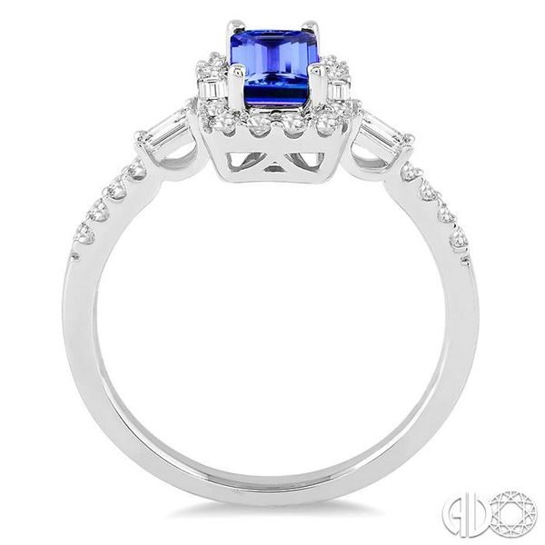 6x4 MM Octagon Cut Tanzanite and 1/2 Ctw Round Cut Diamond Ring in 14K White Gold Image 3 Becker's Jewelers Burlington, IA
