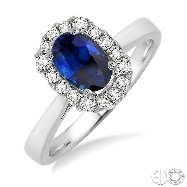 6x4 MM Oval Cut Sapphire and 1/6 Ctw Round Cut Diamond Ring in 14K White Gold Becker's Jewelers Burlington, IA