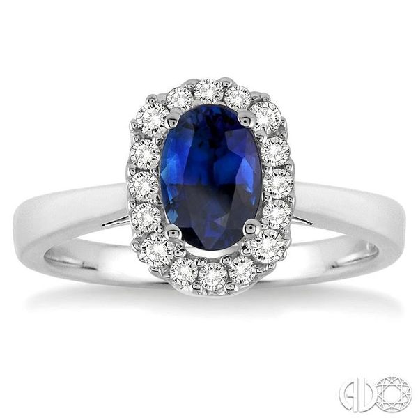 6x4 MM Oval Cut Sapphire and 1/6 Ctw Round Cut Diamond Ring in 14K White Gold Image 2 Becker's Jewelers Burlington, IA