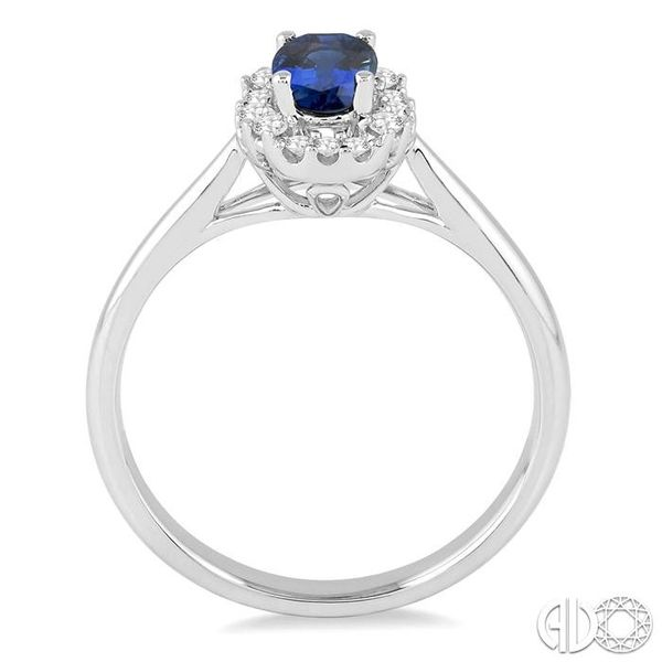 6x4 MM Oval Cut Sapphire and 1/6 Ctw Round Cut Diamond Ring in 14K White Gold Image 3 Becker's Jewelers Burlington, IA