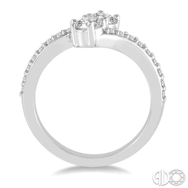 1/2 Ctw Cross Over Shank Round Cut Diamond 2Stone Ring in 14K White Gold Image 3 Becker's Jewelers Burlington, IA