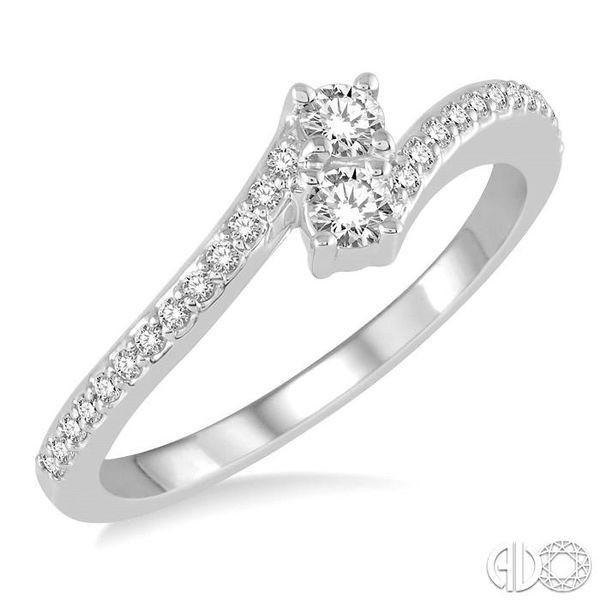 1/4 Ctw Cross Over Shank Round Cut Diamond 2Stone Ring in 14K White Gold Becker's Jewelers Burlington, IA