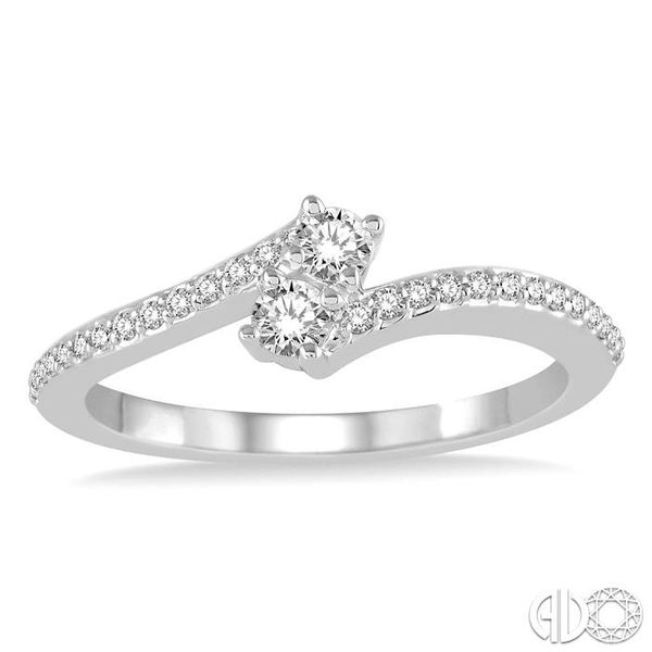 1/4 Ctw Cross Over Shank Round Cut Diamond 2Stone Ring in 14K White Gold Image 2 Becker's Jewelers Burlington, IA