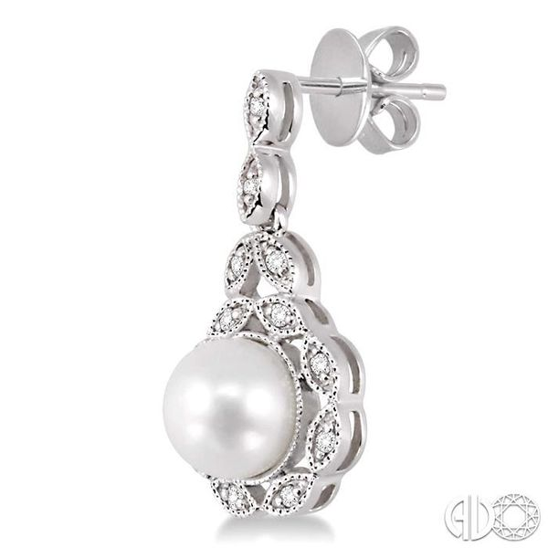 6x6mm Cultured Pearl and 1/8 Ctw Single Cut Diamond Earrings in 14K White Gold Image 3 Becker's Jewelers Burlington, IA