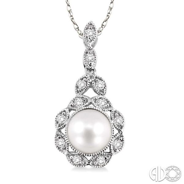 6.5mm Cultured Pearl and 1/10 Ctw Single Cut Diamond Pendant in 14K White Gold with Chain Becker's Jewelers Burlington, IA