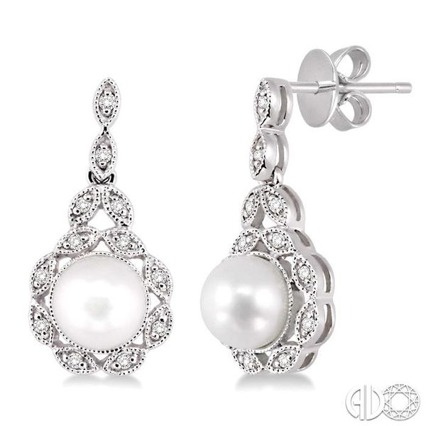 6x6mm Cultured Pearl and 1/8 Ctw Single Cut Diamond Earrings in 10K White Gold Becker's Jewelers Burlington, IA