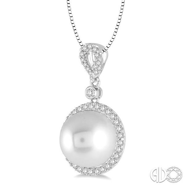 12x12 MM White Cultured Pearl and 3/8 Ctw Round Cut Diamond Pendant in 14K White Gold with chain Image 2 Becker's Jewelers Burlington, IA