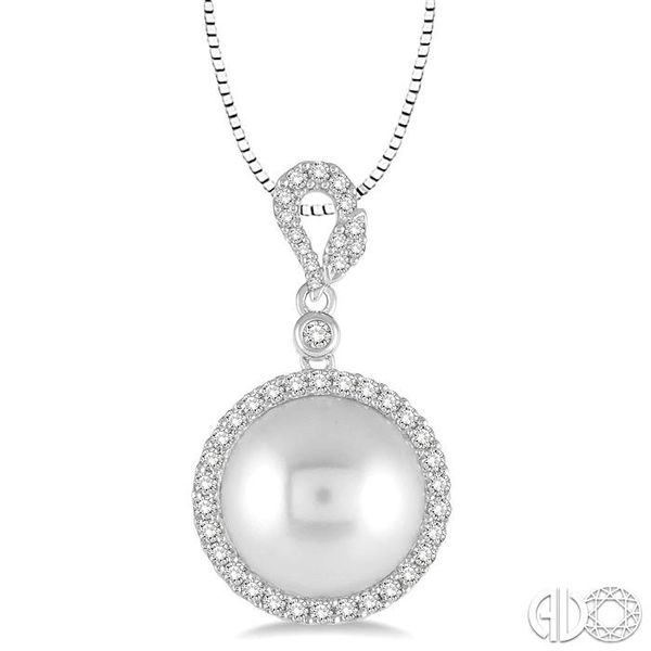 12x12 MM White Cultured Pearl and 3/8 Ctw Round Cut Diamond Pendant in 14K White Gold with chain Becker's Jewelers Burlington, IA