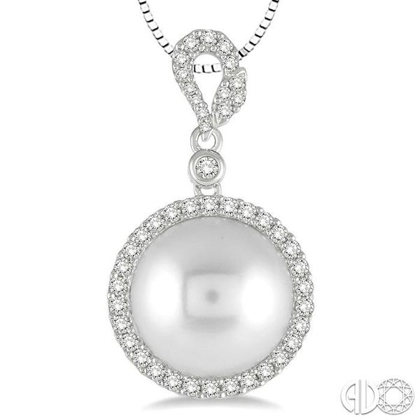 12x12 MM White Cultured Pearl and 3/8 Ctw Round Cut Diamond Pendant in 14K White Gold with chain Image 3 Becker's Jewelers Burlington, IA