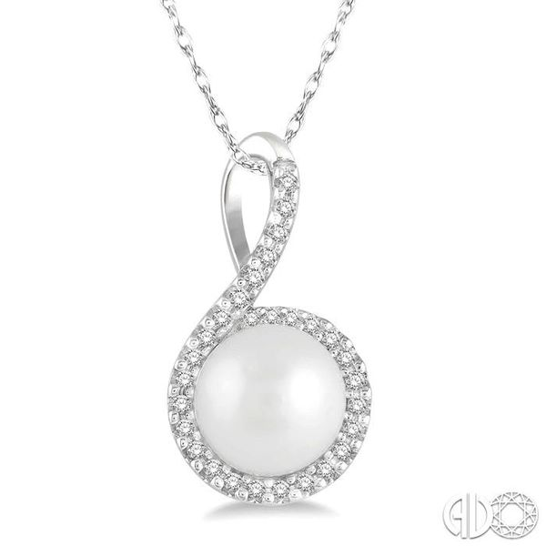 1/10 Ctw Round 7x7mm Pearl Center Round Cut Diamond Pendant in 10K White Gold Becker's Jewelers Burlington, IA