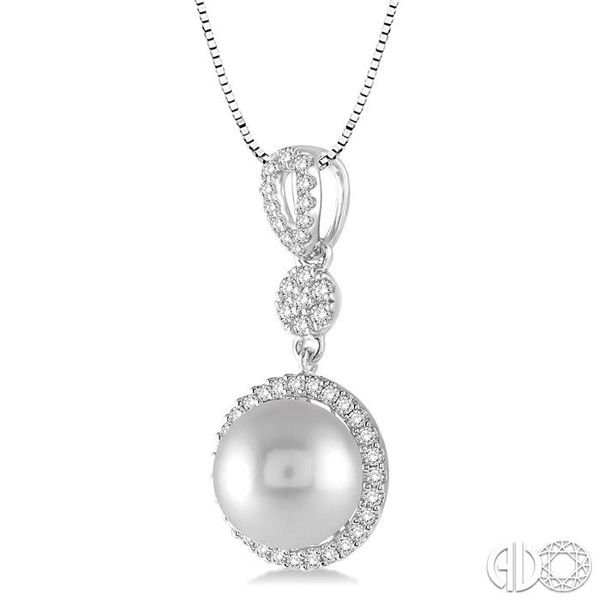 10x10 MM Cultured Pearl and 1/3 Ctw Round Cut Diamond Pendant in 14K White Gold with Chain Image 2 Becker's Jewelers Burlington, IA