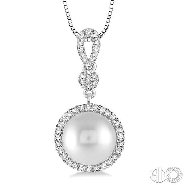 10x10 MM Cultured Pearl and 1/3 Ctw Round Cut Diamond Pendant in 14K White Gold with Chain Image 3 Becker's Jewelers Burlington, IA