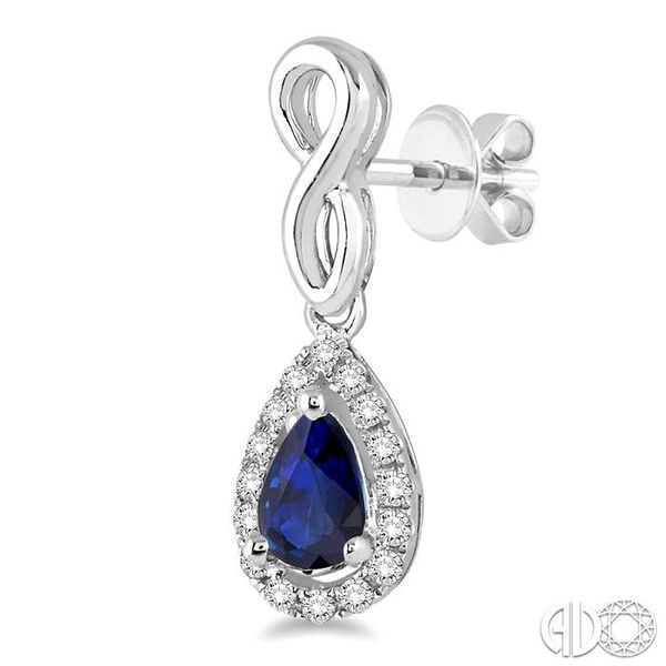 5x3 MM Pear Shape Sapphire and 1/6 Ctw Round Cut Diamond Earrings in 14K White Gold Image 3 Becker's Jewelers Burlington, IA
