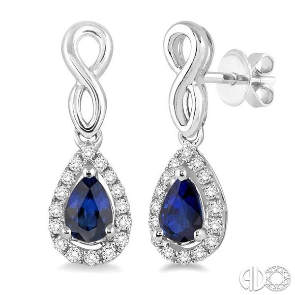 5x3 MM Pear Shape Sapphire and 1/6 Ctw Round Cut Diamond Earrings in 14K White Gold Becker's Jewelers Burlington, IA