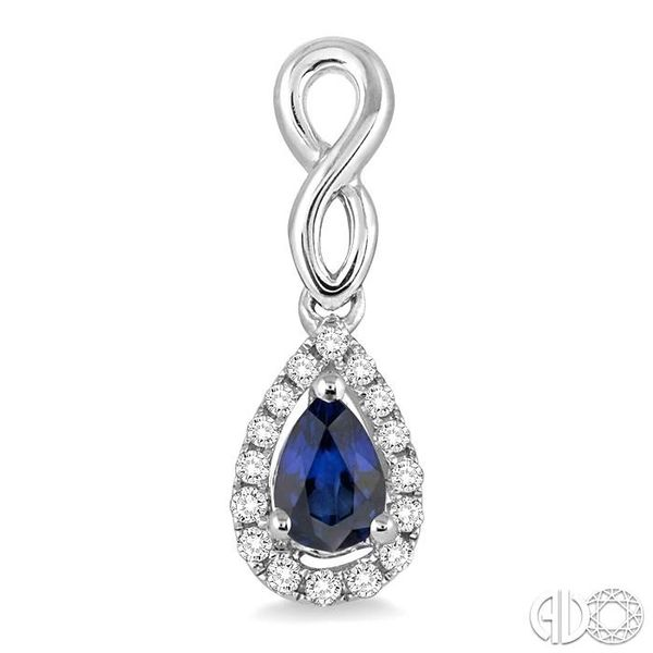 5x3 MM Pear Shape Sapphire and 1/6 Ctw Round Cut Diamond Earrings in 14K White Gold Image 2 Becker's Jewelers Burlington, IA