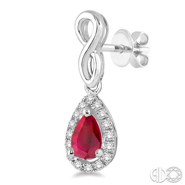 5x3 MM Pear Shape Ruby and 1/6 Ctw Round Cut Diamond Earrings in 10K White Gold Image 3 Becker's Jewelers Burlington, IA